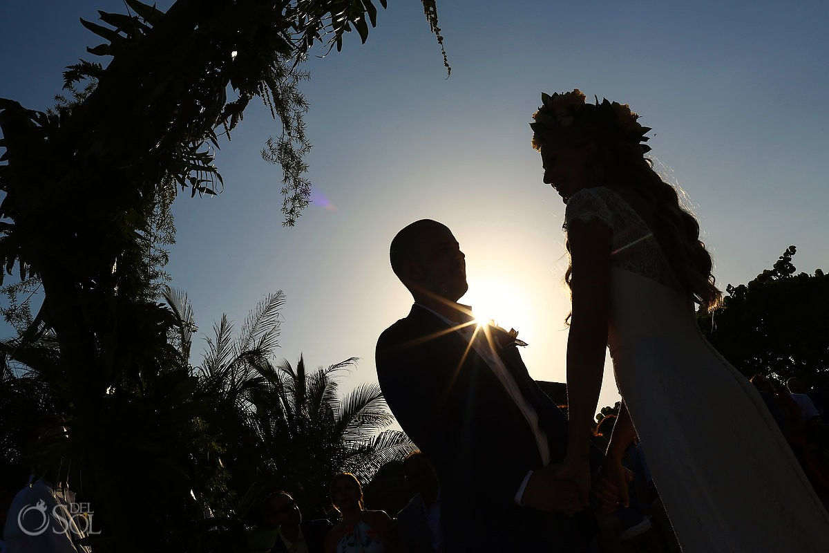 Creative silhouette Beach Wedding Blue Venado Beach Club Playa del Carmen Mexico