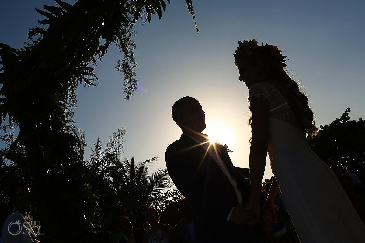 Creative silhouette Beach Wedding Blue Venado Beach Club Playa del Carmen Mexico