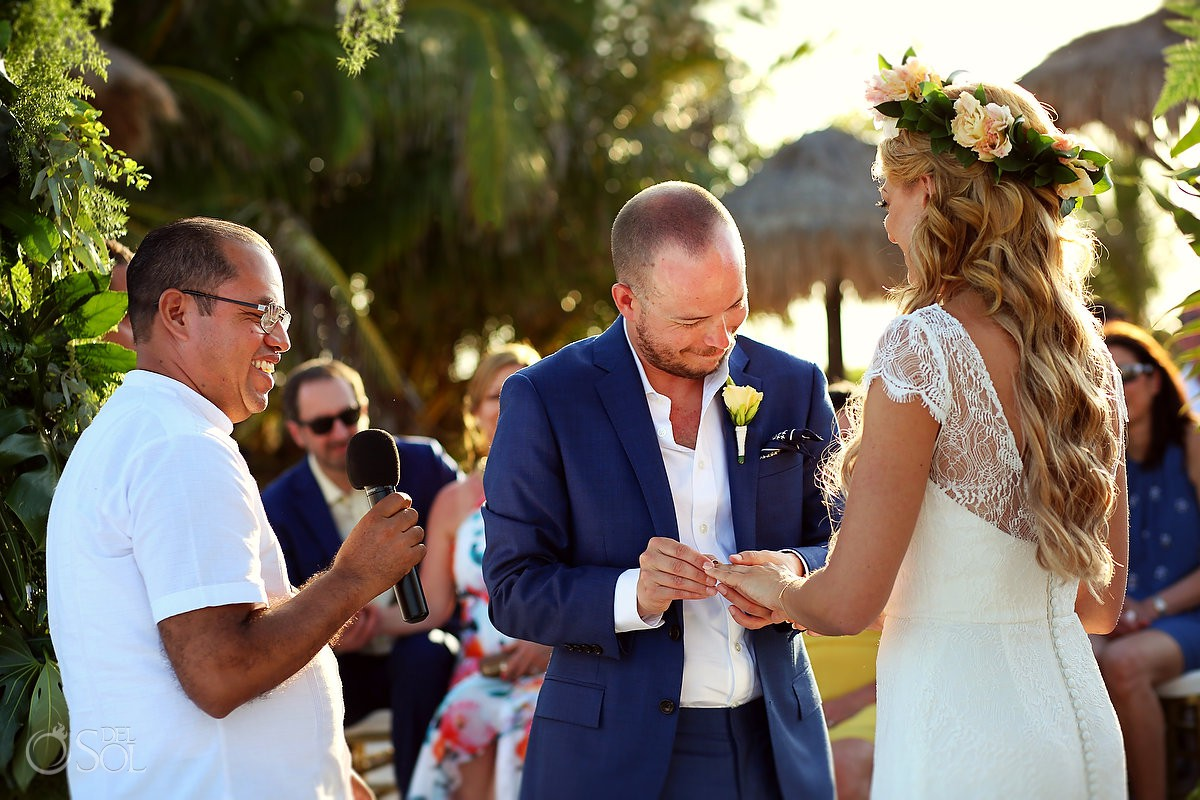 Beach Wedding Blue Venado Beach Club Playa del Carmen Mexico exchange of rings