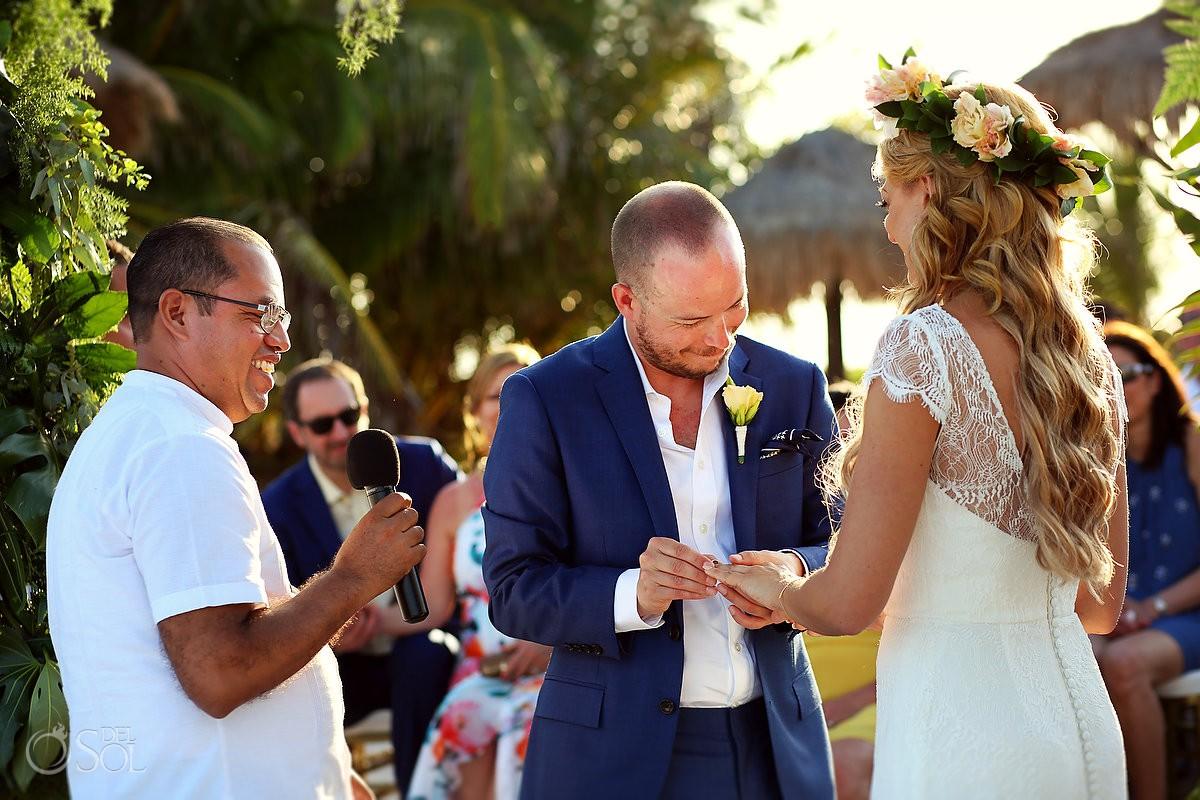 Beach Wedding Blue Venado Beach Club Playa del Carmen Mexico exchange of rings