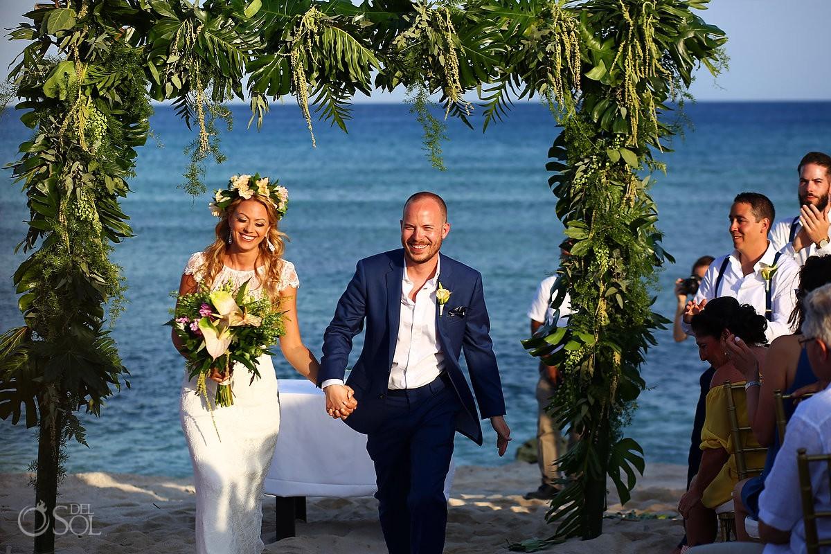 bride and groom just married gazebo wedding Blue Venado Beach Club Playa del Carmen Mexico