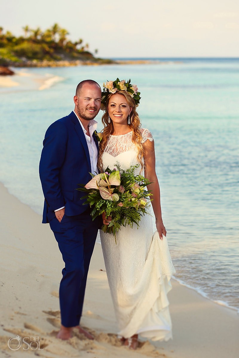 Bride and groom beach portrait Blue Venado Beach Club Playa del Carmen Mexico