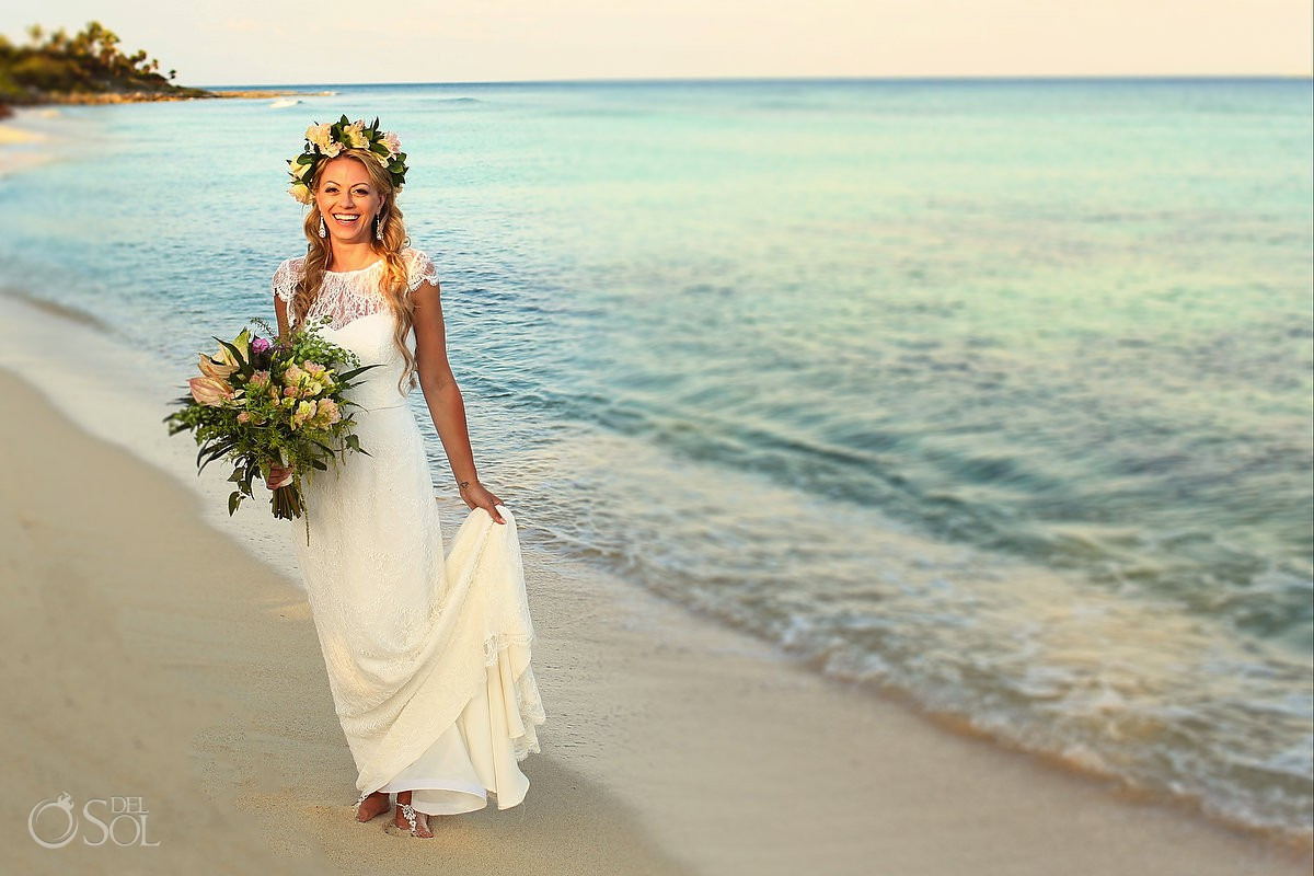 Bride beach portrait Destination wedding Riviera Maya Blue Venado Beach Club Playa del Carmen Mexico