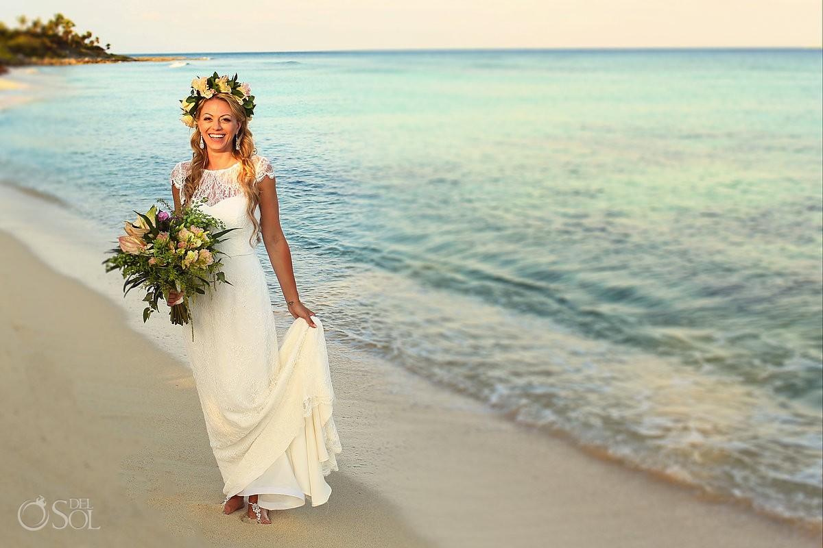 Bride beach portrait Destination wedding Riviera Maya Blue Venado Beach Club Playa del Carmen Mexico