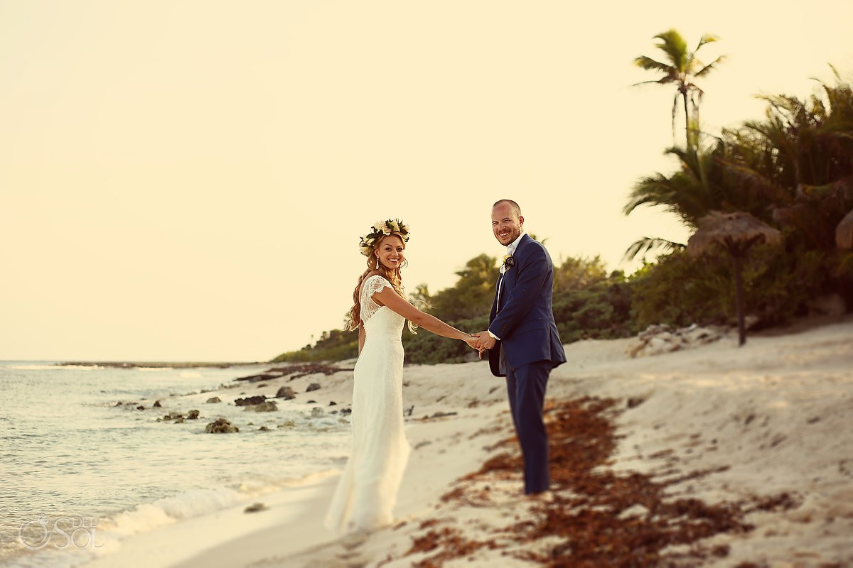 Bride and groom beach wedding portrait Riviera Maya Blue Venado Mexico