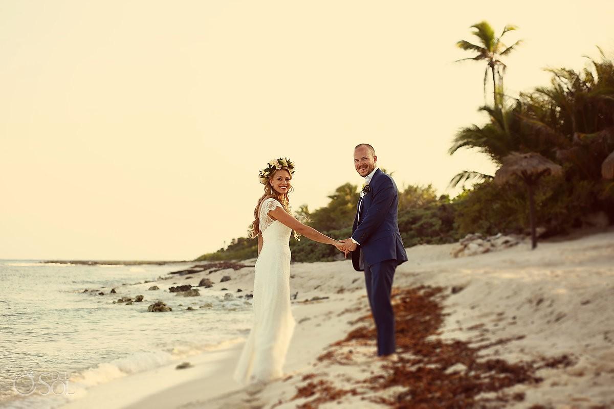 Bride and groom beach wedding portrait Riviera Maya Blue Venado Mexico