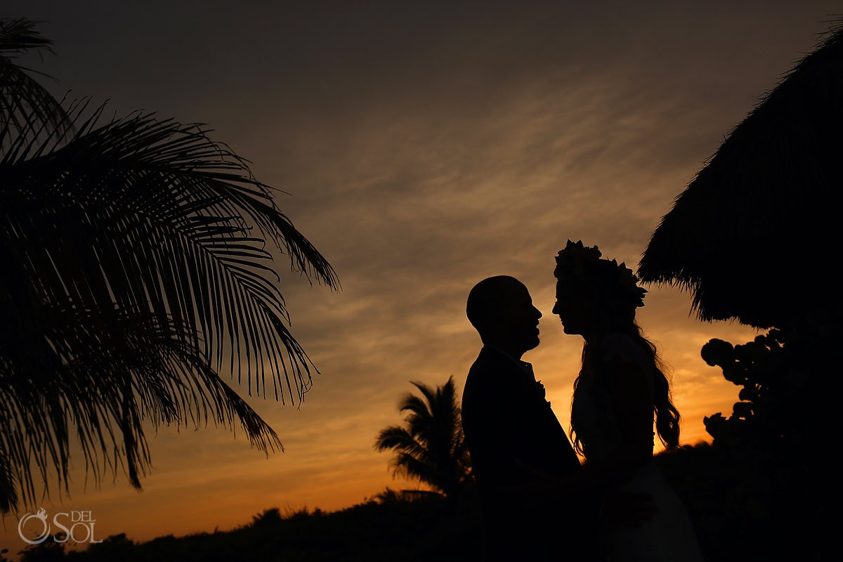 Creative sunset silhouette Riviera Maya Destination wedding Blue Venado Mexico