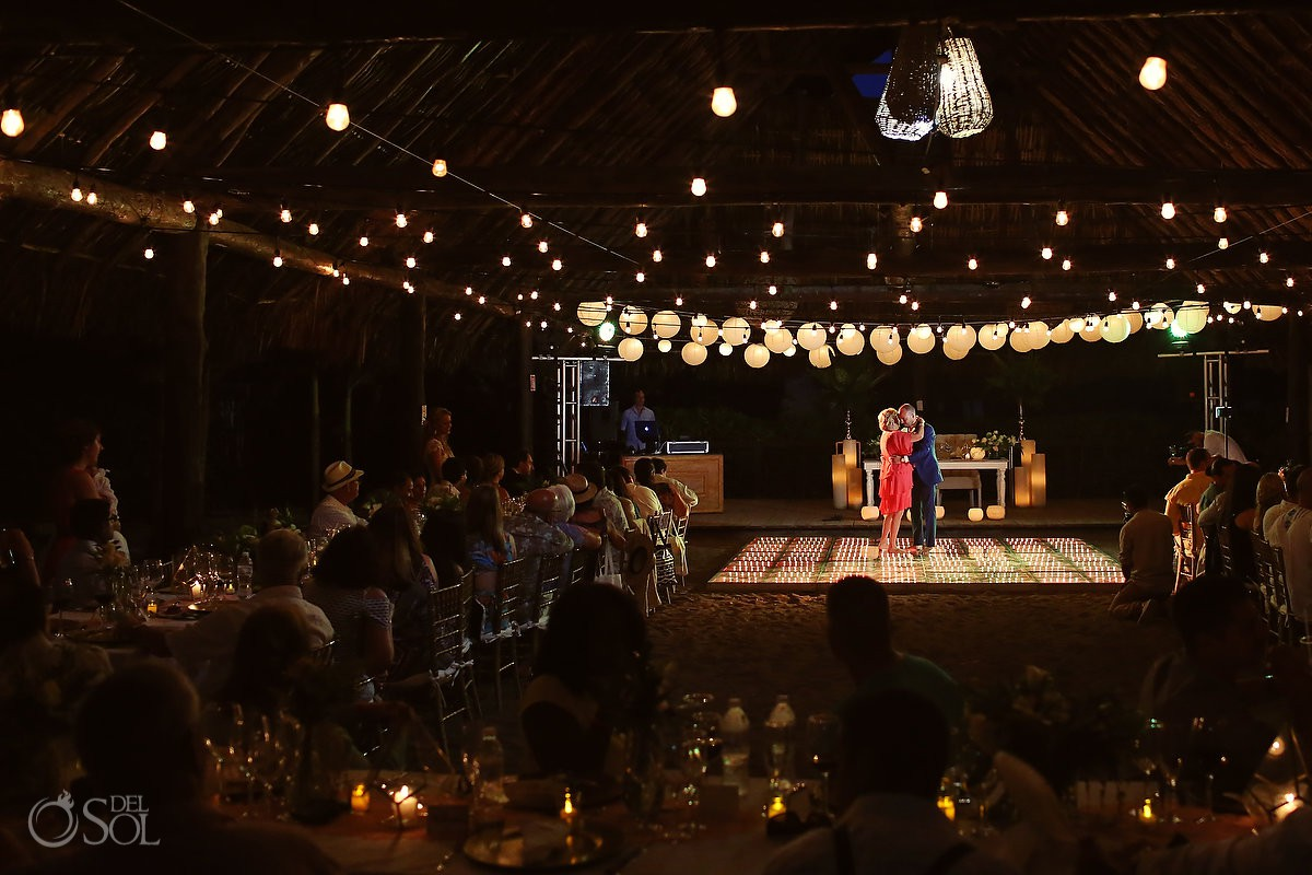 Mom and groom first dance beautiful wedding reception set up Blue Venado Beach Club Playa del Carmen Mexico
