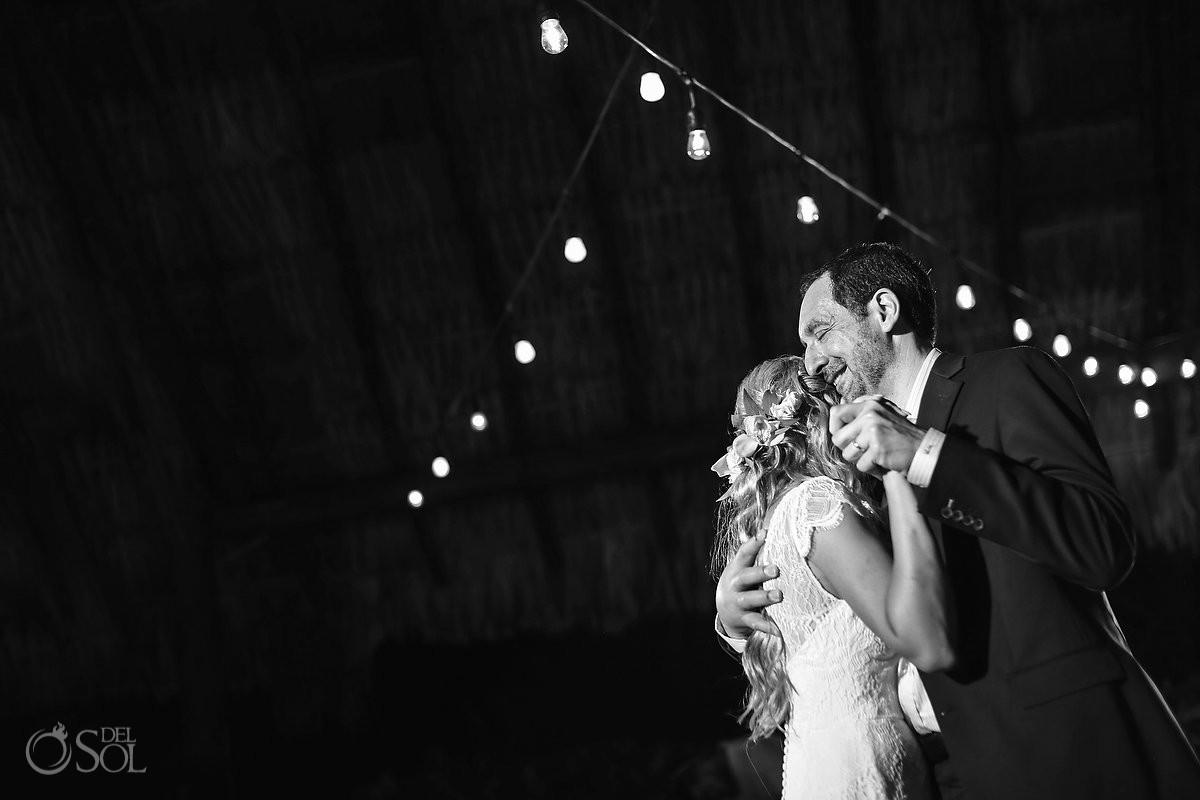 father and bride emotional first dance Blue Venado Beach Club Playa del Carmen Mexico