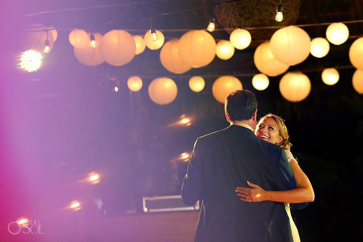 amazing wedding set up father and daughter dance Blue Venado Beach Club Playa del Carmen Mexico