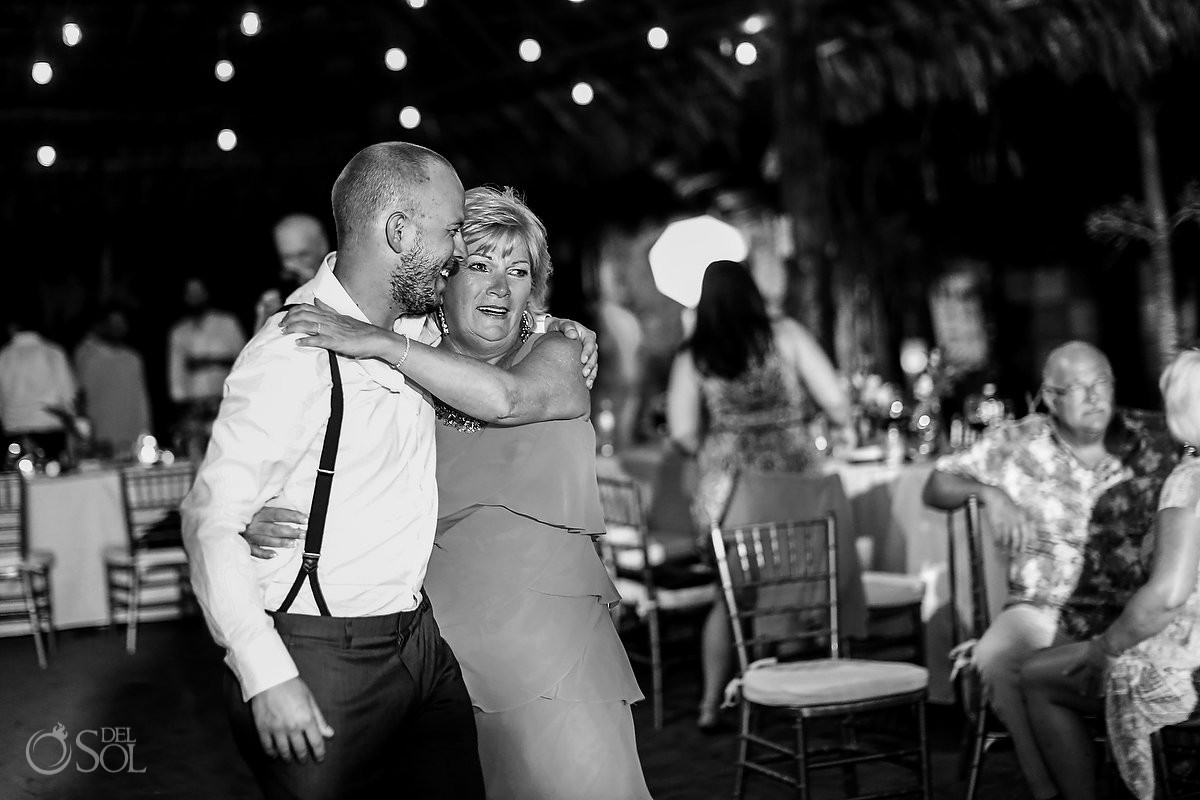mom and son emotional wedding moments Blue Venado Beach Club Playa del Carmen Mexico