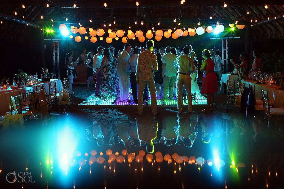 Amazing wedding reception set up Blue Venado Beach Club Playa del Carmen Mexico