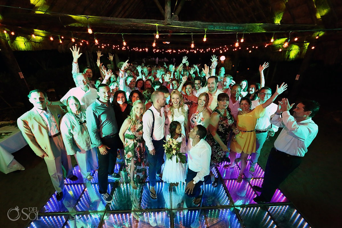 Best places for destination weddings Blue Venado Beach Club Playa del Carmen Mexico group picture