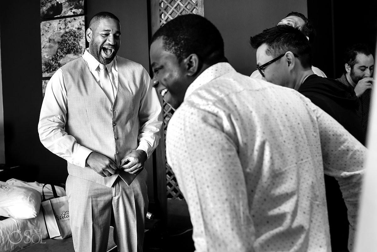 Bestman Groom Laughs Nizuc Resort Cancun Mexico Destination Wedding