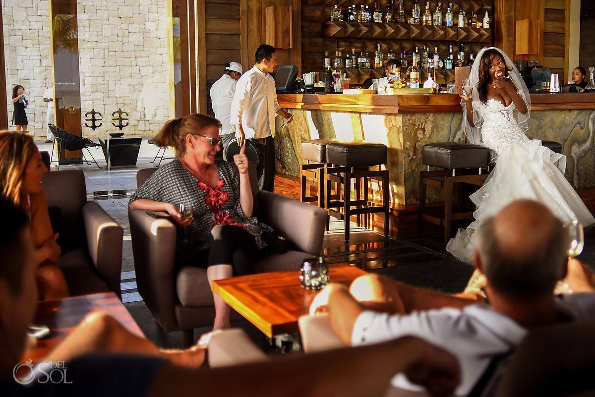 Bride Bar Cheers Nizuc Resort Cancun Mexico Destination Wedding