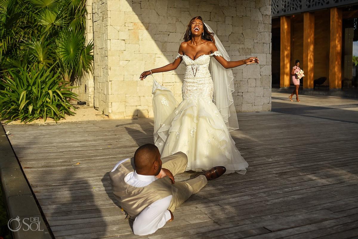 Bride Laughs Groom Down First Look Nizuc Resort Cancun Mexico Destination Wedding