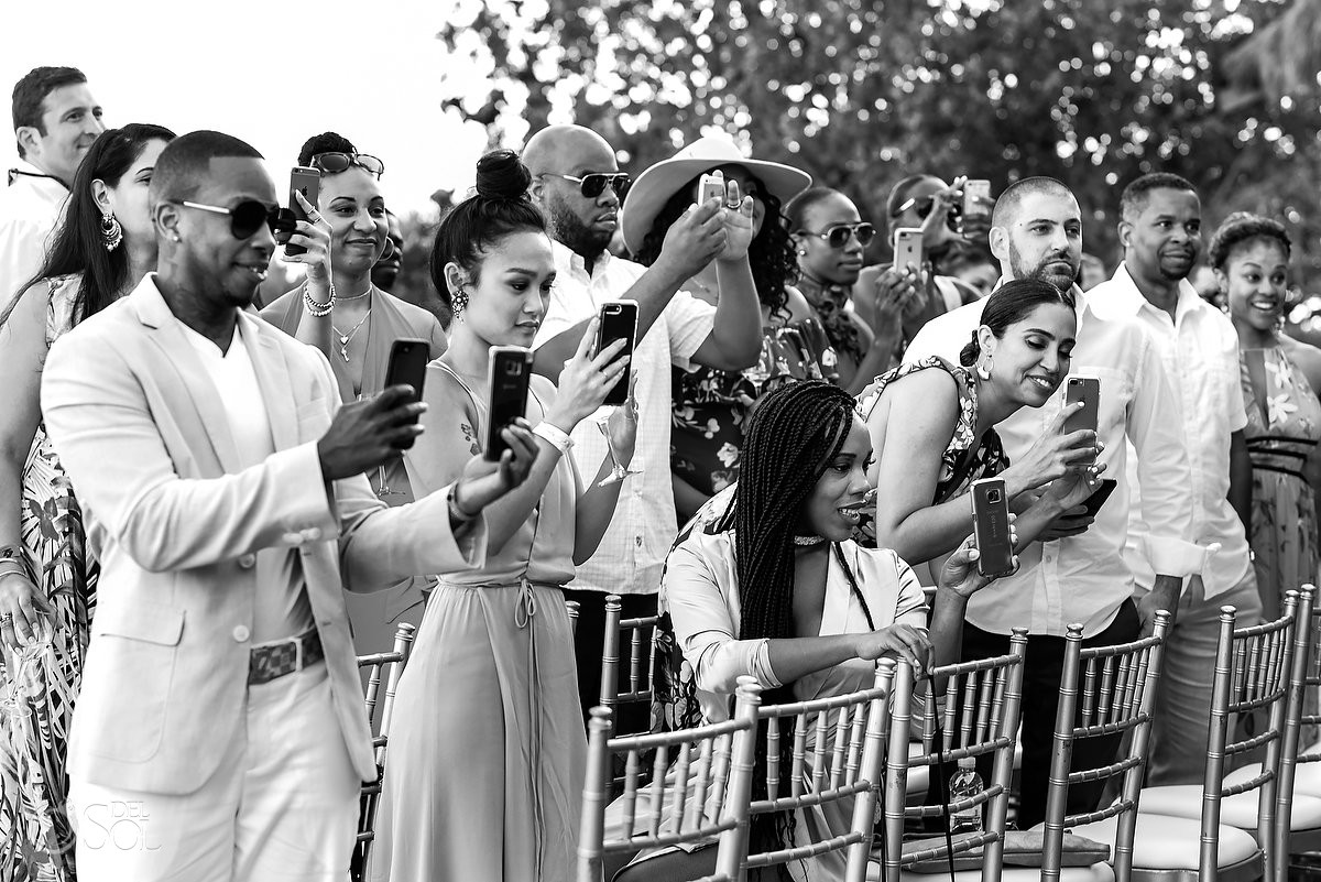 Guests Phones Pictures Ceremony Nizuc Resort Cancun Mexico Destination Wedding