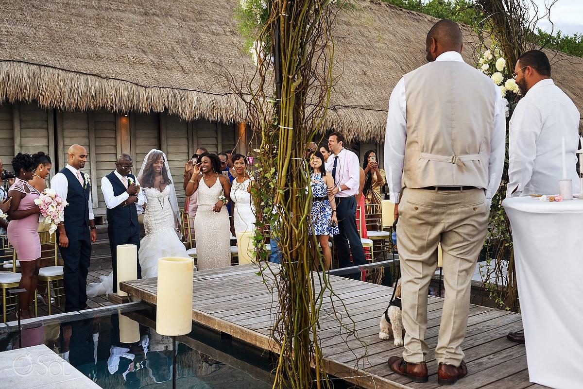 First look Ceremony Bride Dad Nizuc Resort Cancun Mexico Destination Wedding