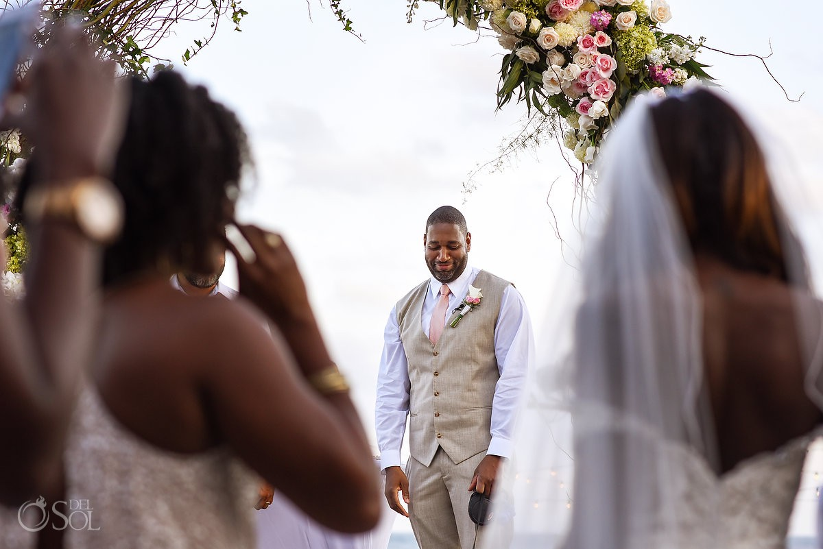 Groom First Look Ceremony Nizuc Resort Cancun Mexico Destination Wedding