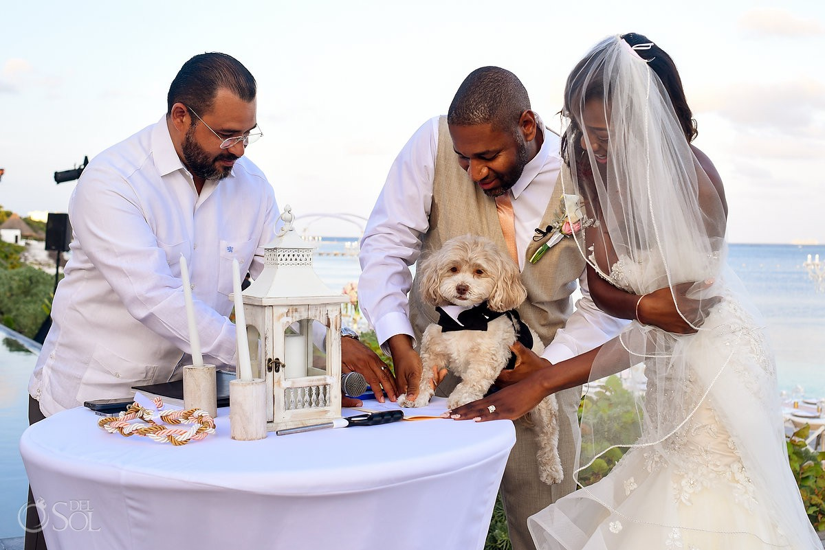 Dog Paw Signing Ceremony Nizuc Resort Cancun Mexico Destination Wedding