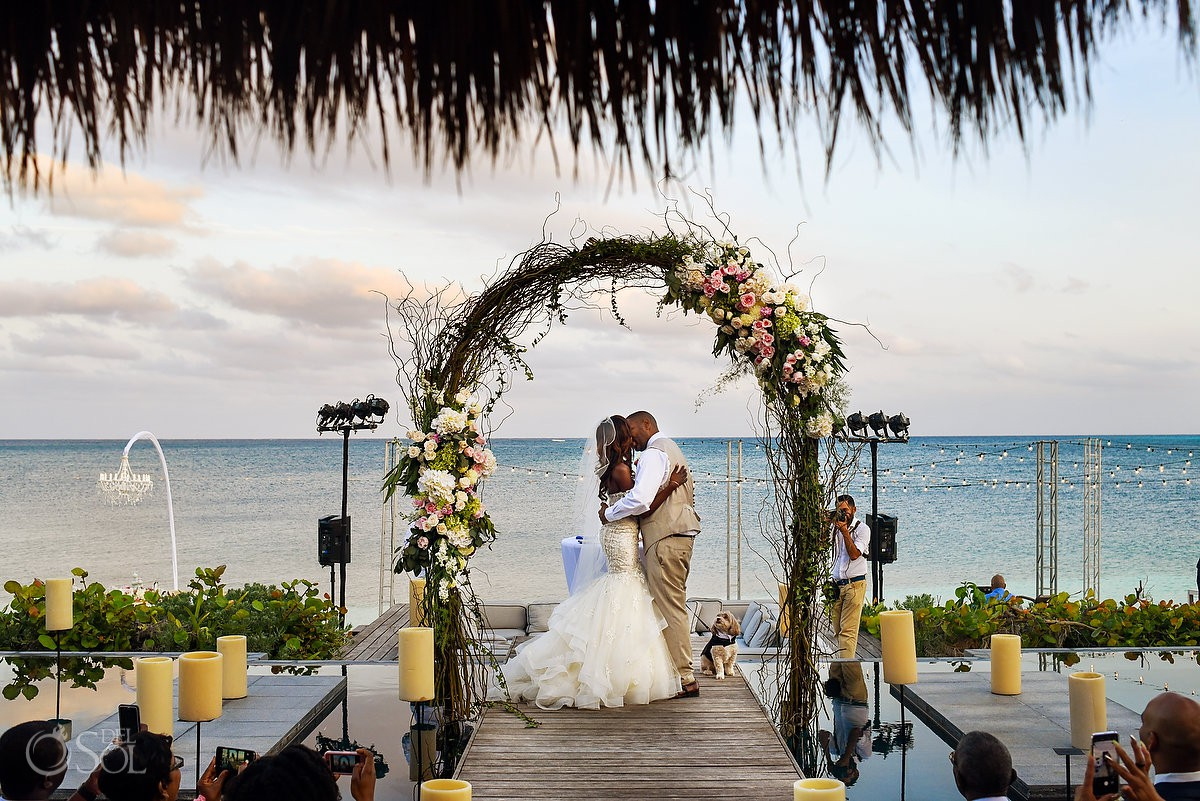 Sunset Ceremony First Kiss Flowers Nizuc Resort Cancun Mexico Destination Wedding