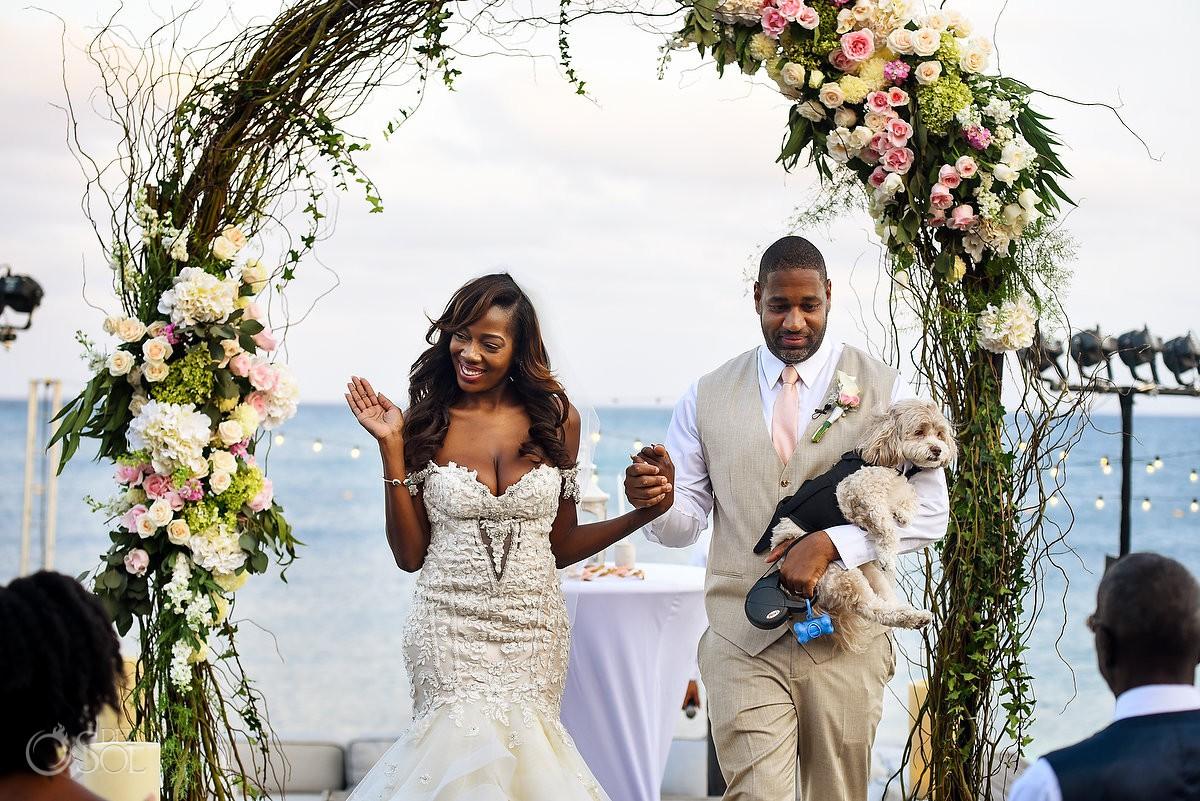 Bride Groom Walking Out Ceremony Nizuc Resort Cancun Mexico Destination Wedding