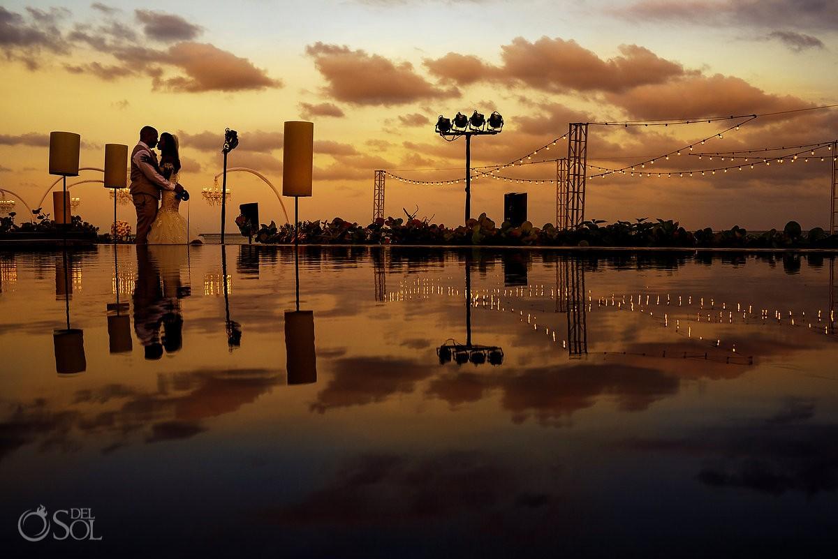 Bride Groom Sunset Reflection Portrait Nizuc Resort Cancun Mexico Destination Wedding