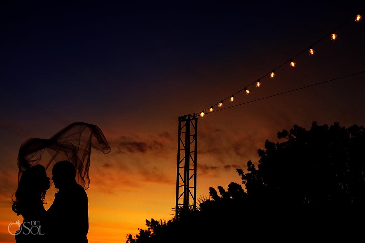 Sunset Beautiful Light Silhouette Nizuc Resort Cancun Mexico Destination Wedding