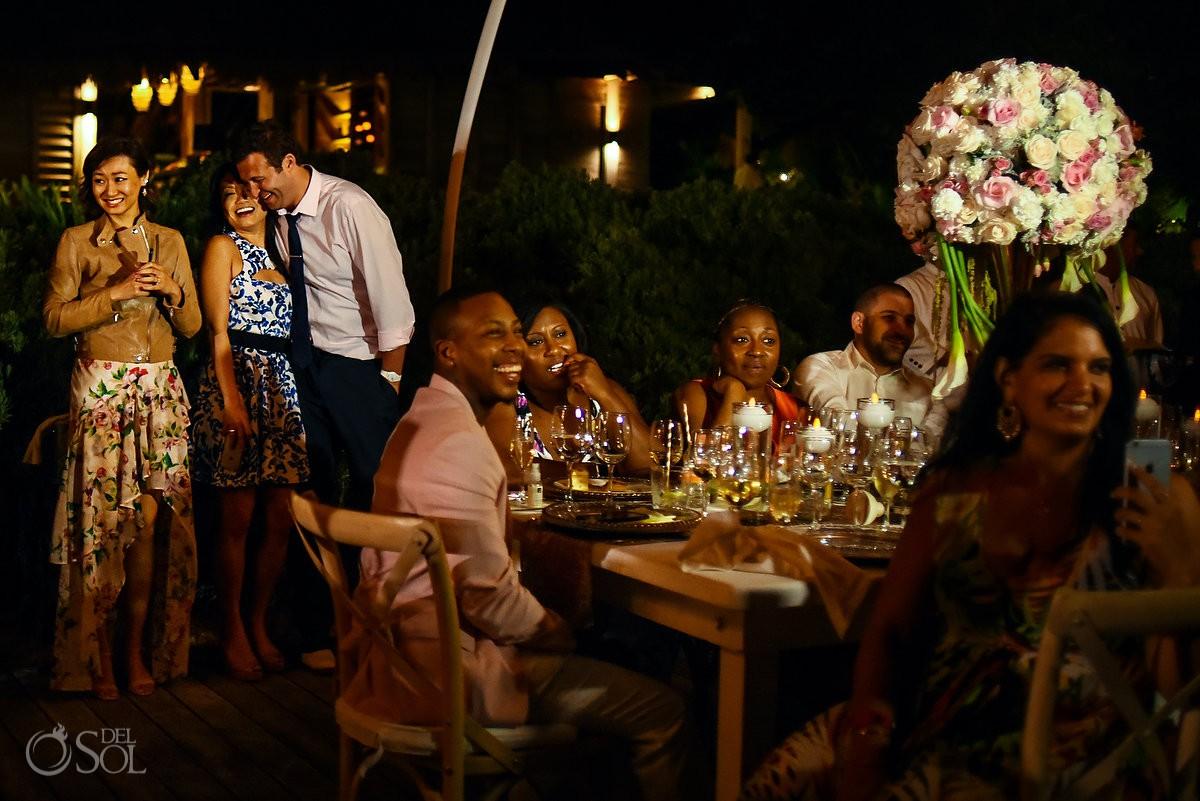 Guests Laughing Enjoying Speeches Nizuc Resort Cancun Mexico Destination Wedding