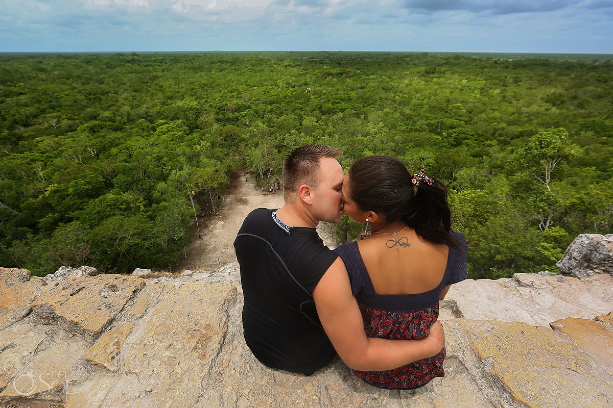 amazing Coba view destination engagement, México, mayan ruins, kiss