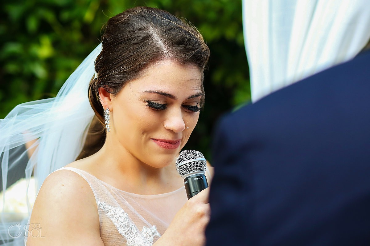 Emotional bride vows Destination Wedding Paradisus La Esmeralda Playa Del Carmen
