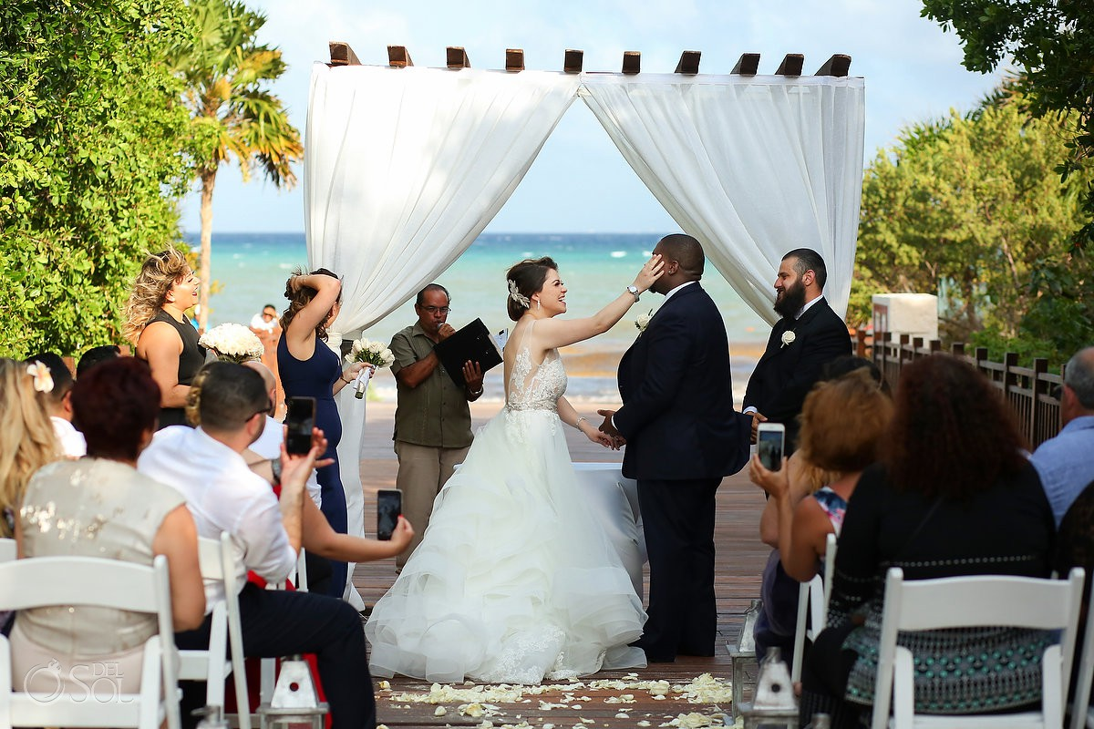 Bride cleaning groom tears of love Destination Wedding Paradisus La Esmeralda Playa Del Carmen