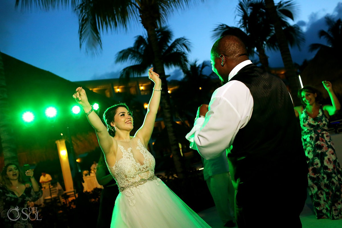 Bride and groom dancing Destination Wedding Paradisus La Esmeralda Playa Del Carmen