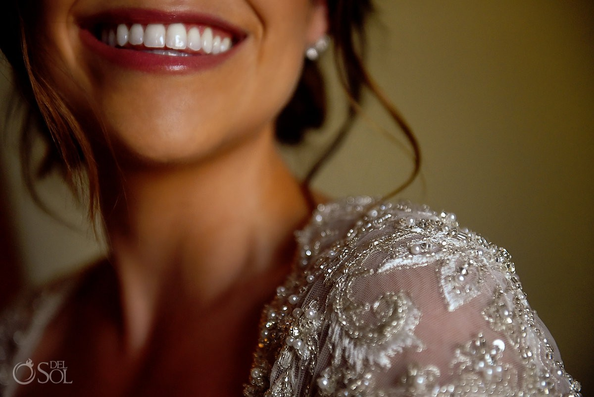 Beautiful bride smile Secrets Capri Riviera Cancun Playa del Carmen Mexico