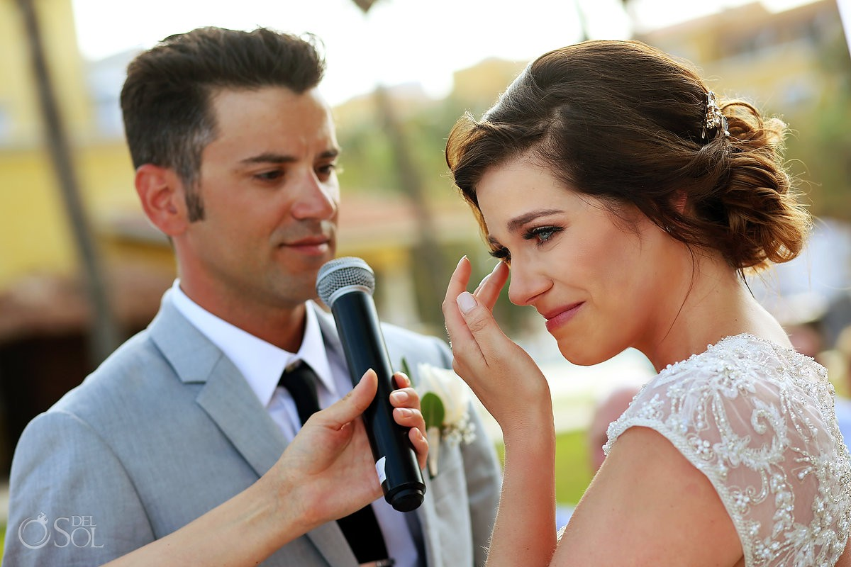 emotional groom vows destination wedding Secrets Capri Riviera Cancun Playa del Carmen Mexico