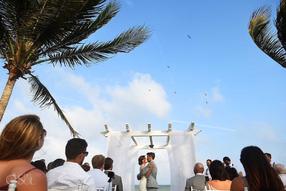 Destination Wedding fist kiss Secrets Capri Riviera Cancun Playa del Carmen Mexico