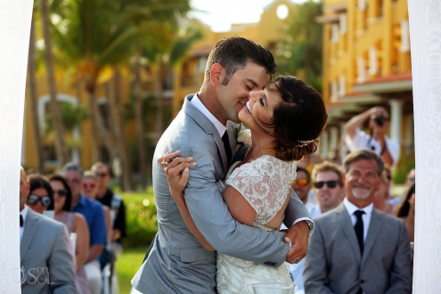 Emotional first kiss destination wedding ceremony Secrets Capri Riviera Cancun Mexico