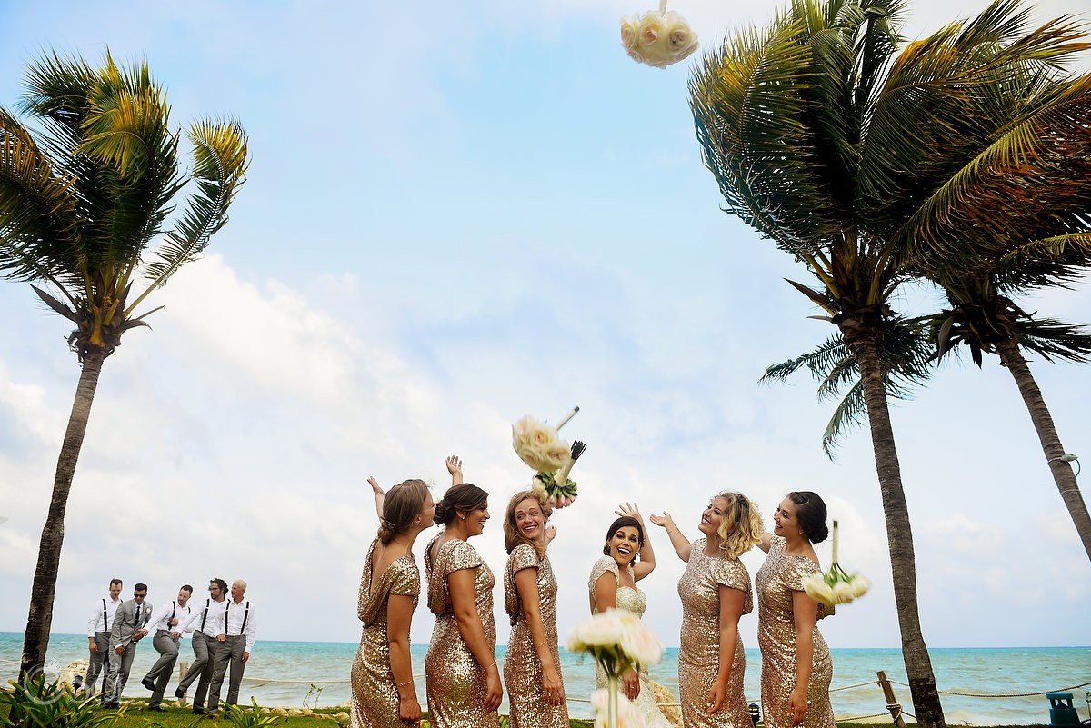 Bridemaids having fun Secrets Capri Riviera Cancun Playa del Carmen Mexico