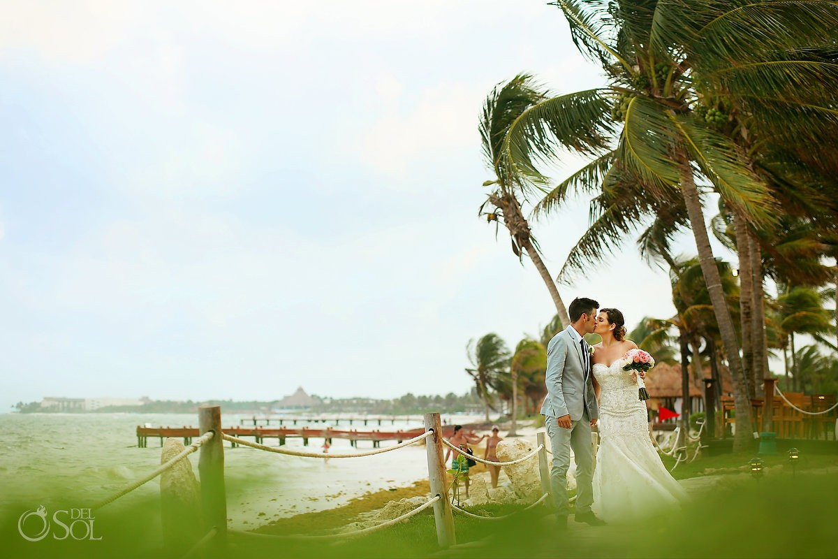 Bride and groom beach portrait Wedding at Secrets Capri Riviera Cancun Playa del Carmen Mexico