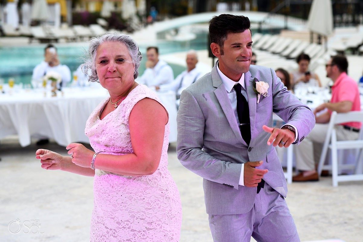 Mother and groom dancing wedding reception Secrets Capri Riviera Cancun Playa del Carmen Mexico