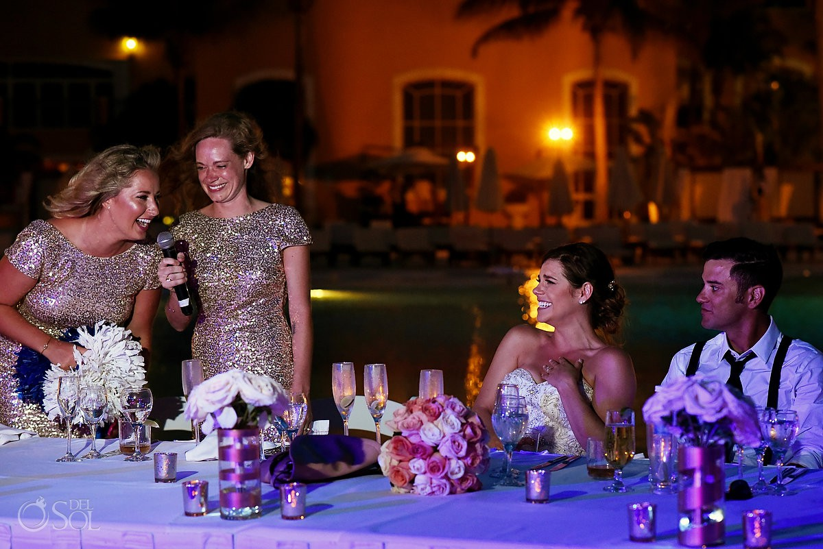 Bridesmaids fun speech Secrets Capri Riviera Cancun Playa del Carmen Mexico