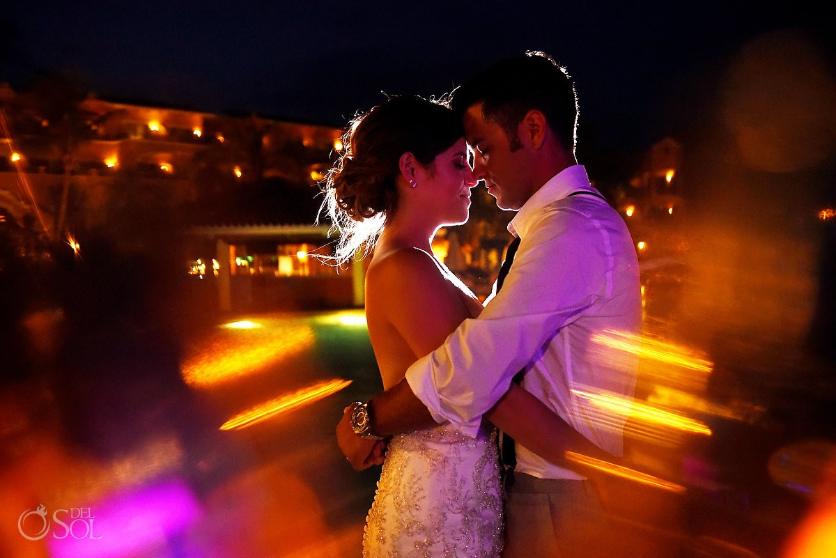 Creative night wedding portrait Secrets Capri Riviera Cancun Playa del Carmen Mexico