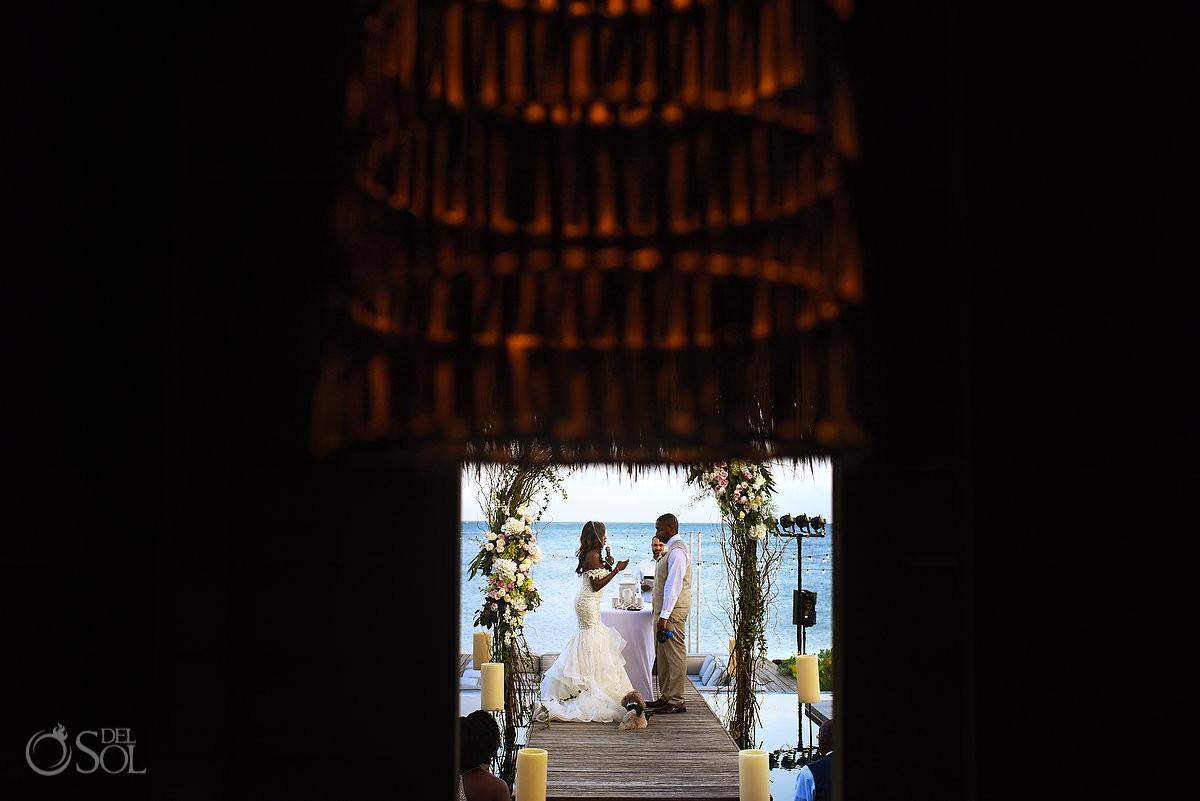 Bride Groom Framed Caribbean Blue Nizuc Resort Cancun Mexico Destination Wedding