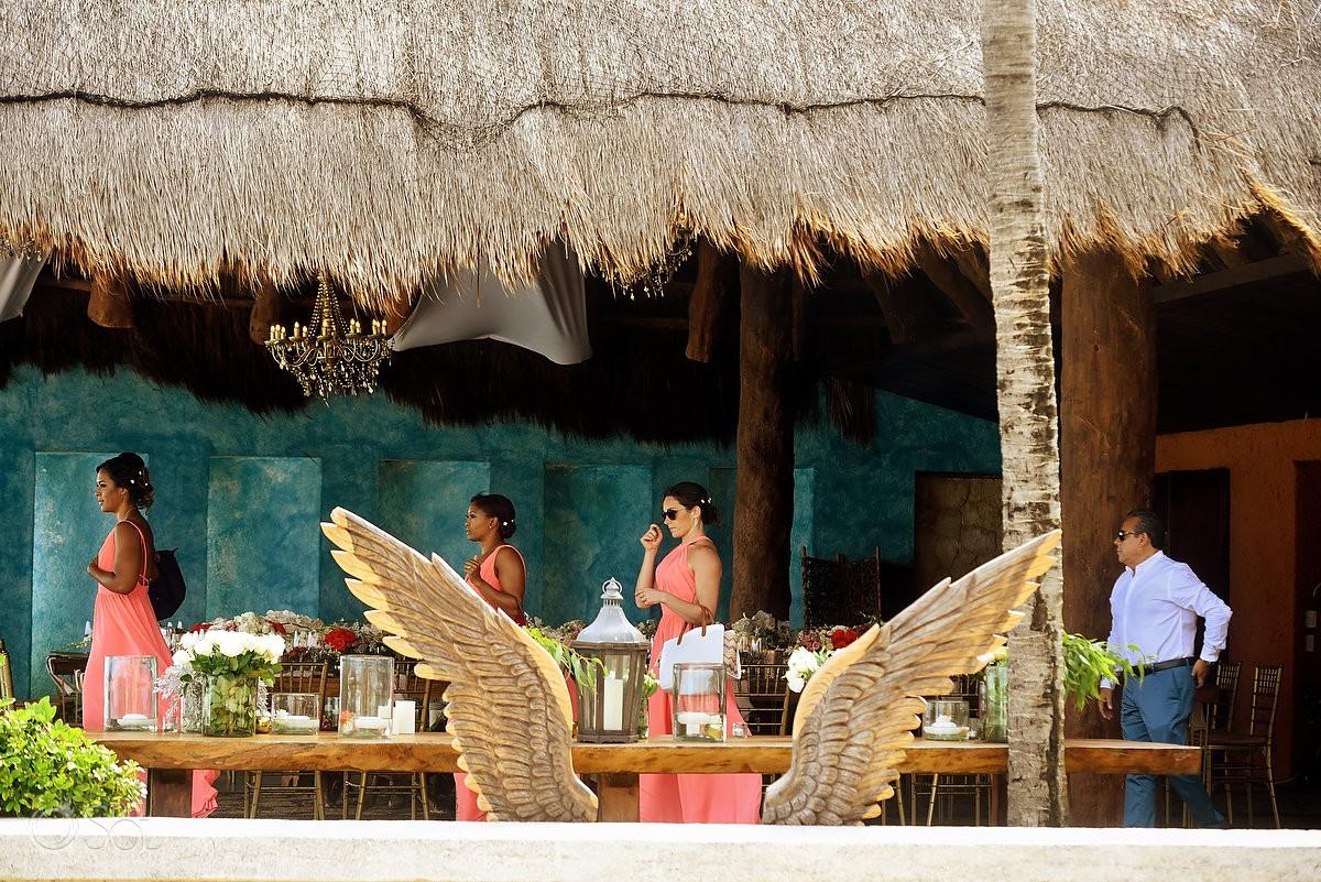Bridesmaids walking destination wedding Wedding at Casa Corazon Playa del Carmen