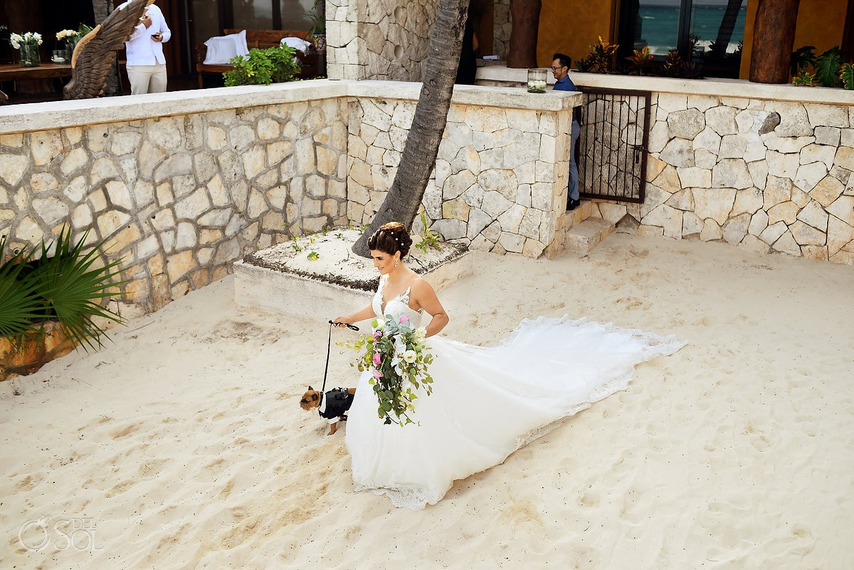 Bride entrance beach wedding Casa Corazon Playa del Carmen, Mexico.