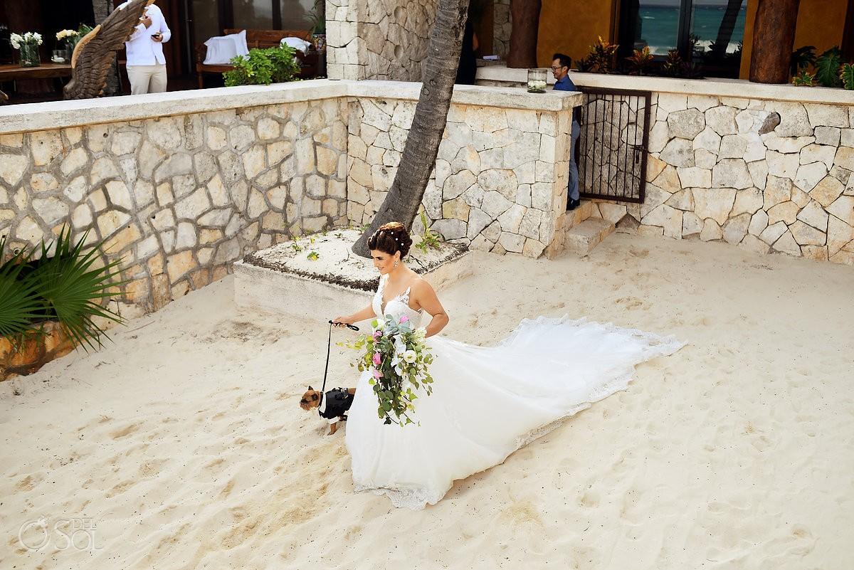 Bride entrance beach wedding Casa Corazon Playa del Carmen, Mexico.