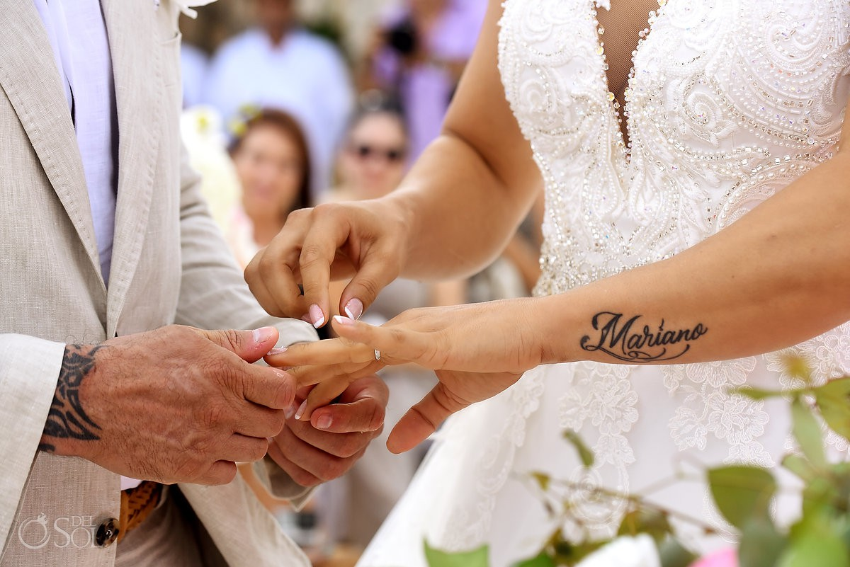 Rings exchange . arms Casa Corazon Playa del Carmen, Mexico.