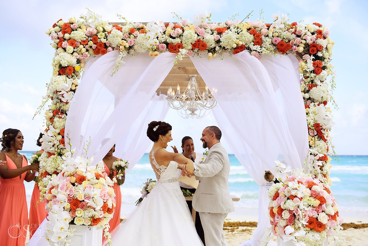 beautiful wedding gazebo beach set up Casa Corazon Playa del Carmen, Mexico.
