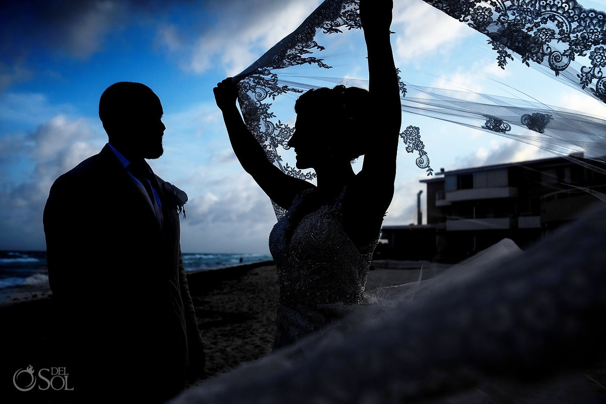 Bride and groom creative silhouette Casa Corazon Playa del Carmen, Mexico.