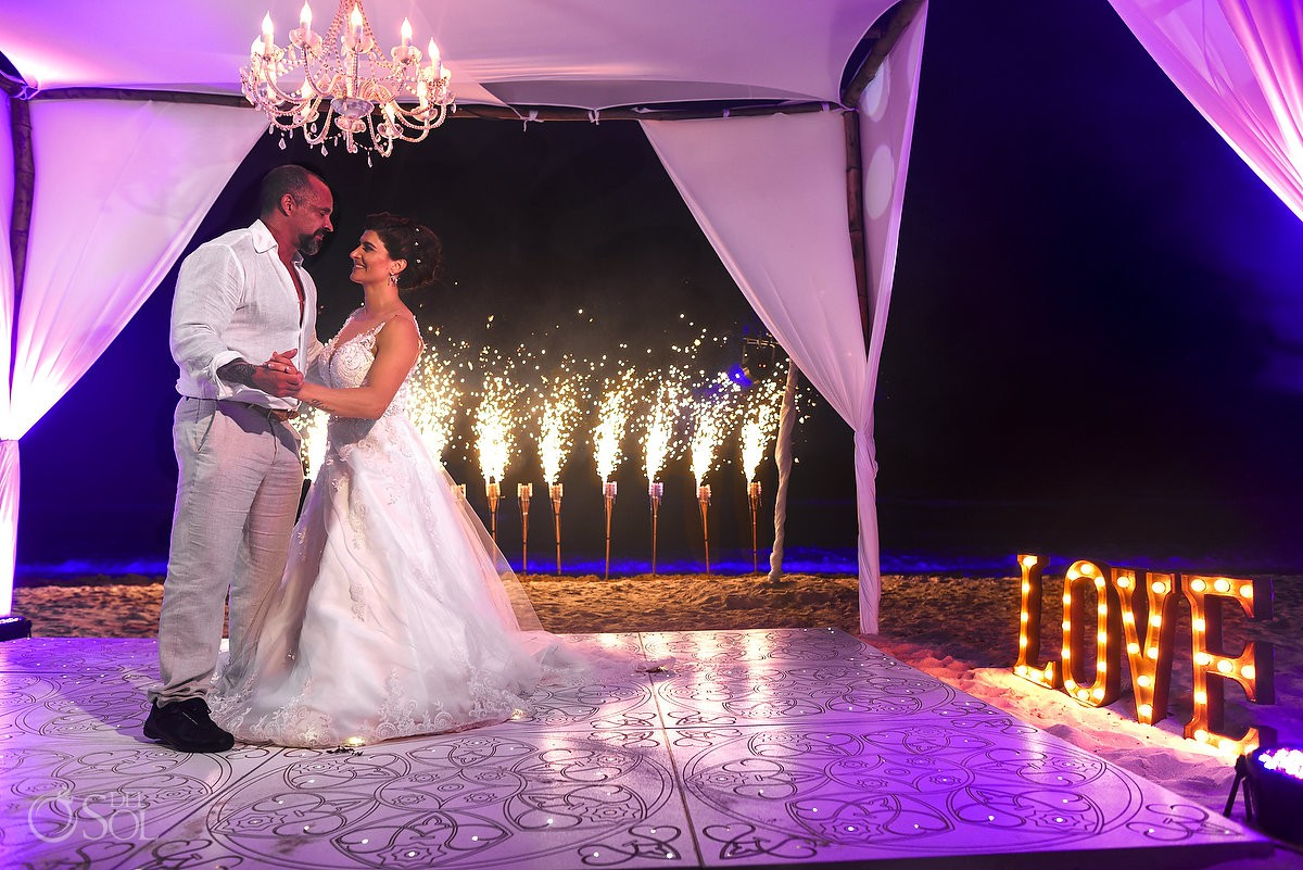 Destination Wedding bride and groom first dance Casa Corazon Playa del Carmen, Mexico.